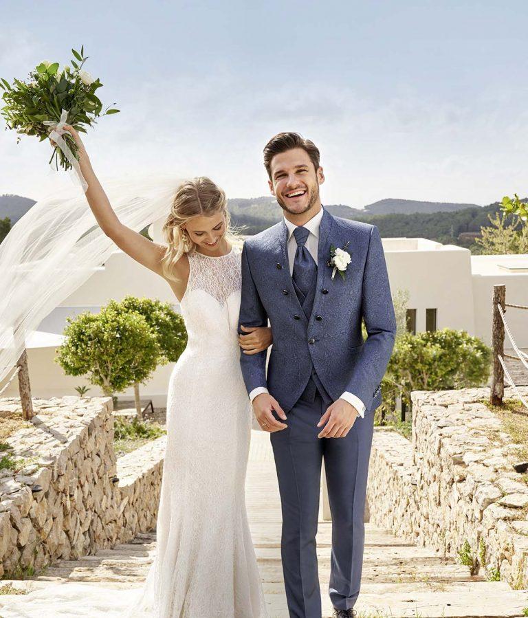 Moderner Hochzeitsanzug von WILVORST mit Brokatmuster in blau